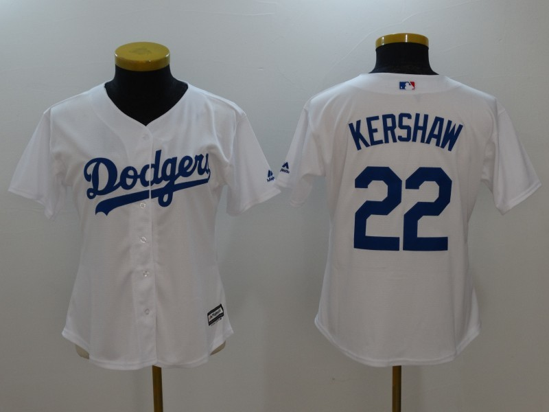 Womens 2017 MLB Los Angeles Dodgers 22 Kershaw White Jerseys