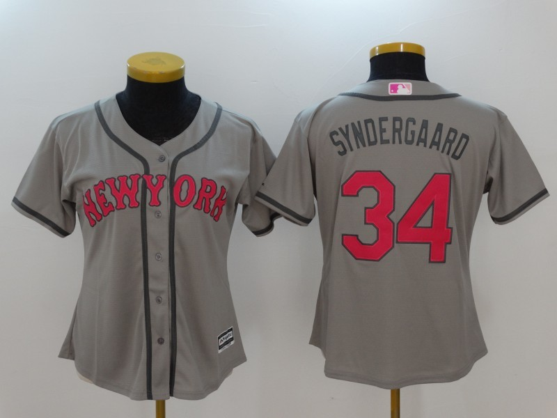 Womens 2017 MLB New York Mets 34 Syndergaard Grey Jerseys