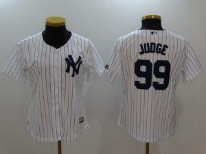 Womens 2017 MLB New York Yankees 99 Judge White Jerseys