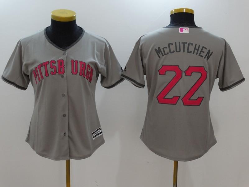Womens 2017 MLB Pittsburgh Pirates 22 Mccutchen Grey Jerseys