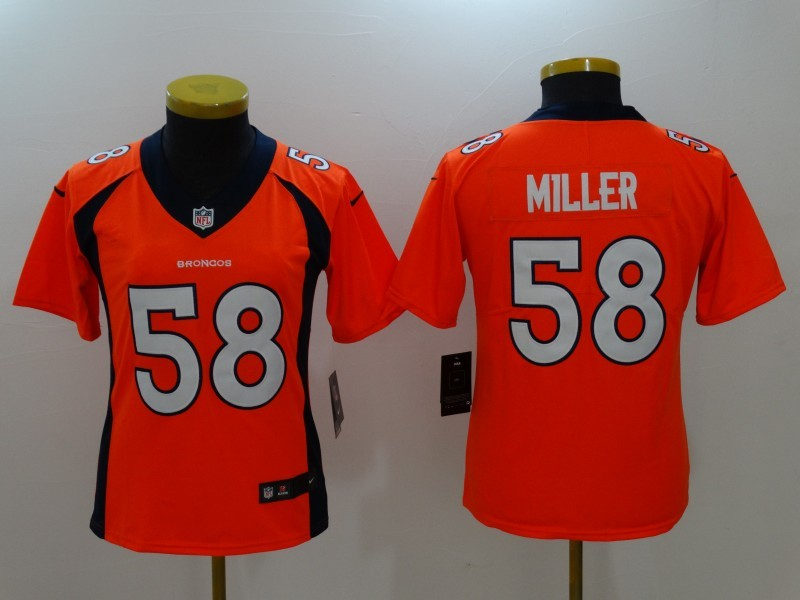Womens Denver Broncos 58 Miller Orange Nike Vapor Untouchable Limited Jersey