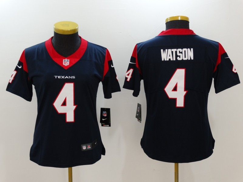 Womens Houston Texans 4 Watson Blue Nike Vapor Untouchable Limited Jersey