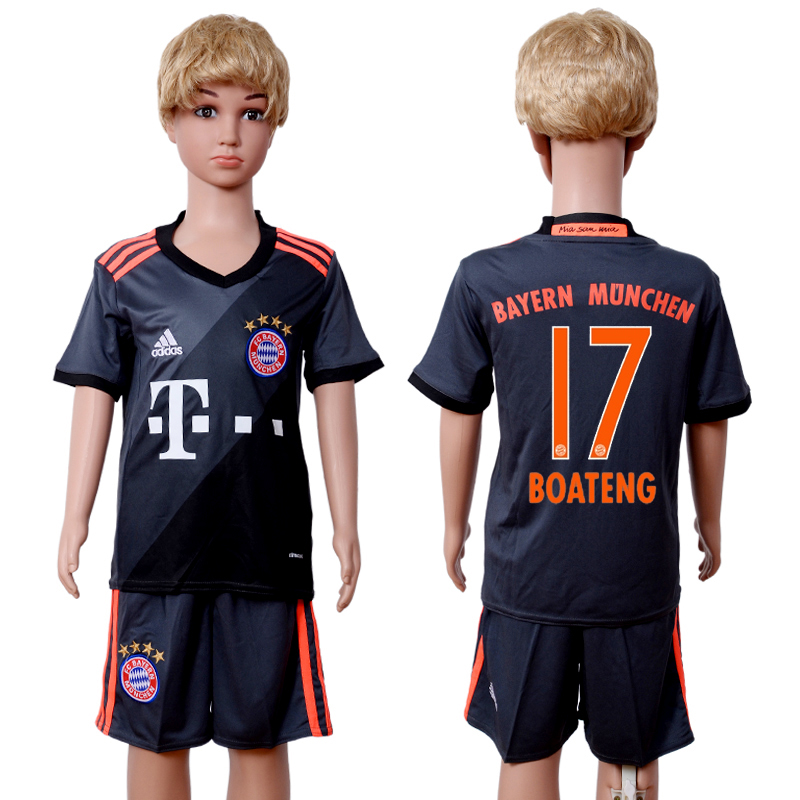2016-2017 club Bayern Munich away kids 17 Black Soccer Jersey