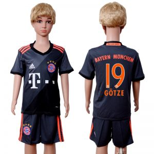 2016-2017 club Bayern Munich away kids 19 Black Soccer Jersey