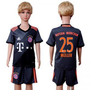 2016-2017 club Bayern Munich away kids 25 Black Soccer Jersey