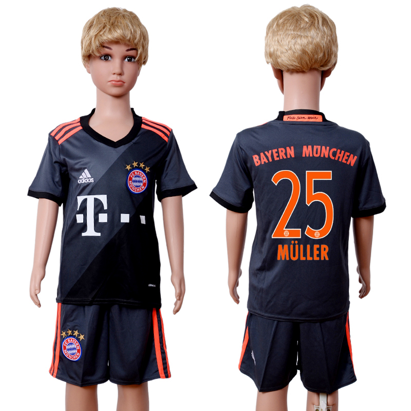 2016-2017 club Bayern Munich away kids 25 Black Soccer Jersey