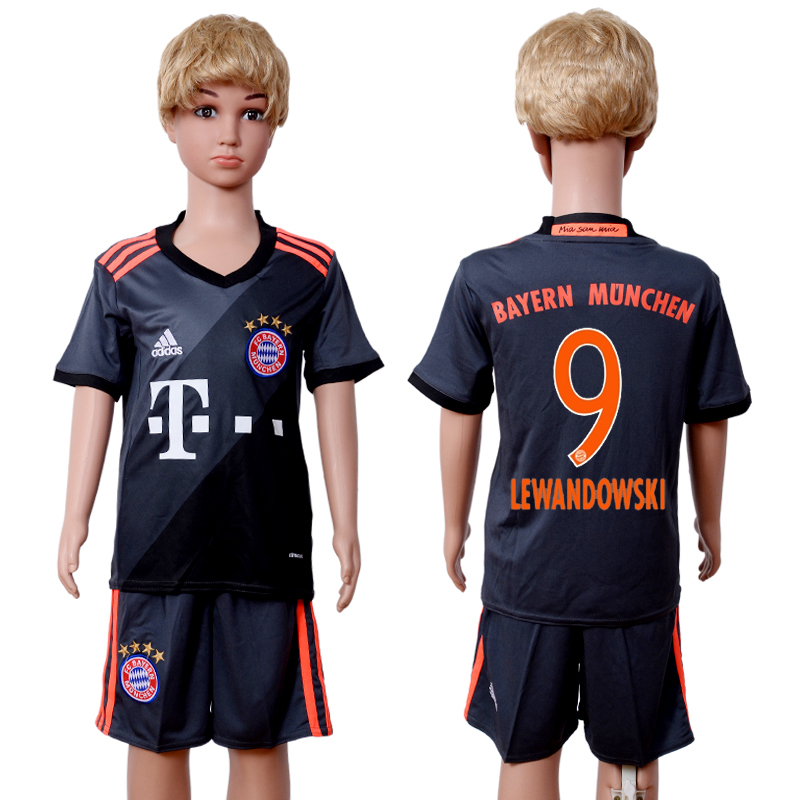 2016-2017 club Bayern Munich away kids 9 Black Soccer Jersey