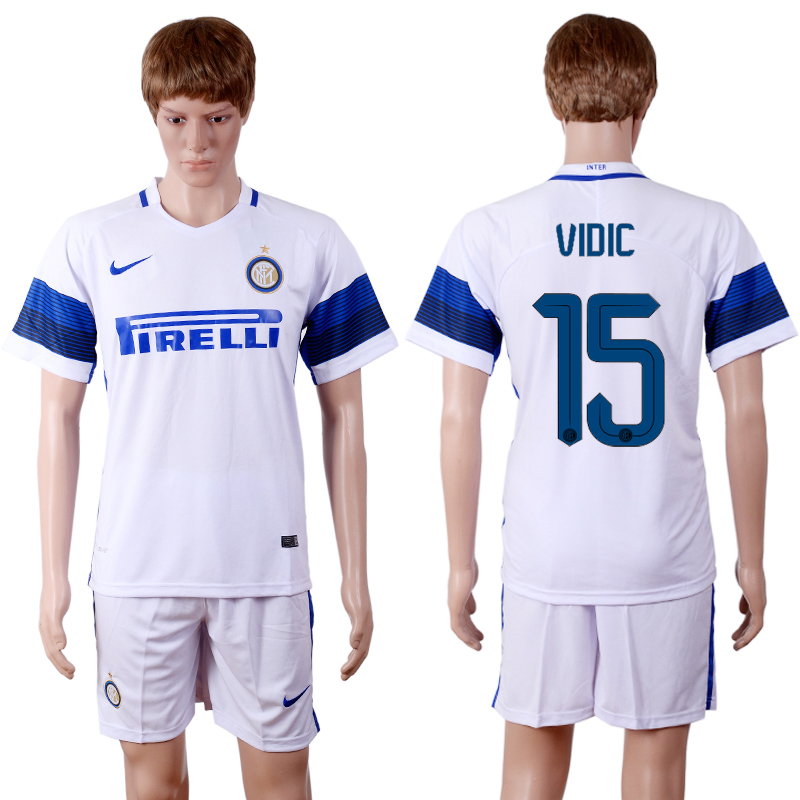 2016-2017 club Inter Milan away 15 White Soccer Jersey