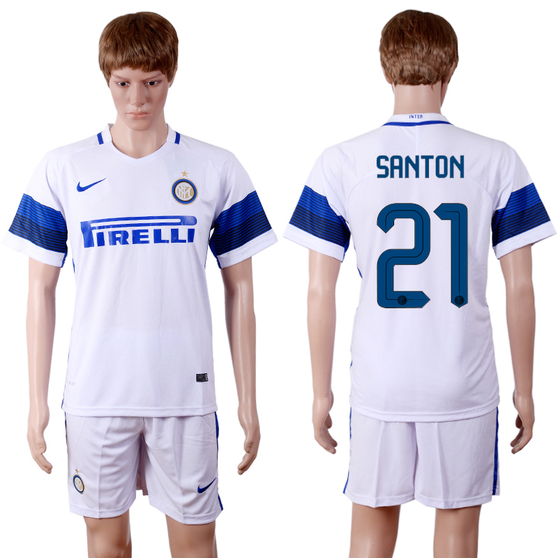 2016-2017 club Inter Milan away 21 White Soccer Jersey