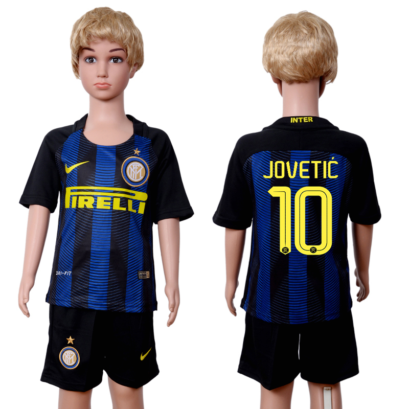 2016-2017 club Inter Milan home kids 10 Black Blue Soccer Jersey