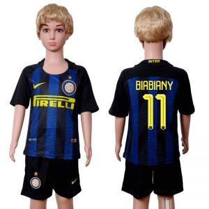 2016-2017 club Inter Milan home kids 11 Black Blue Soccer Jersey