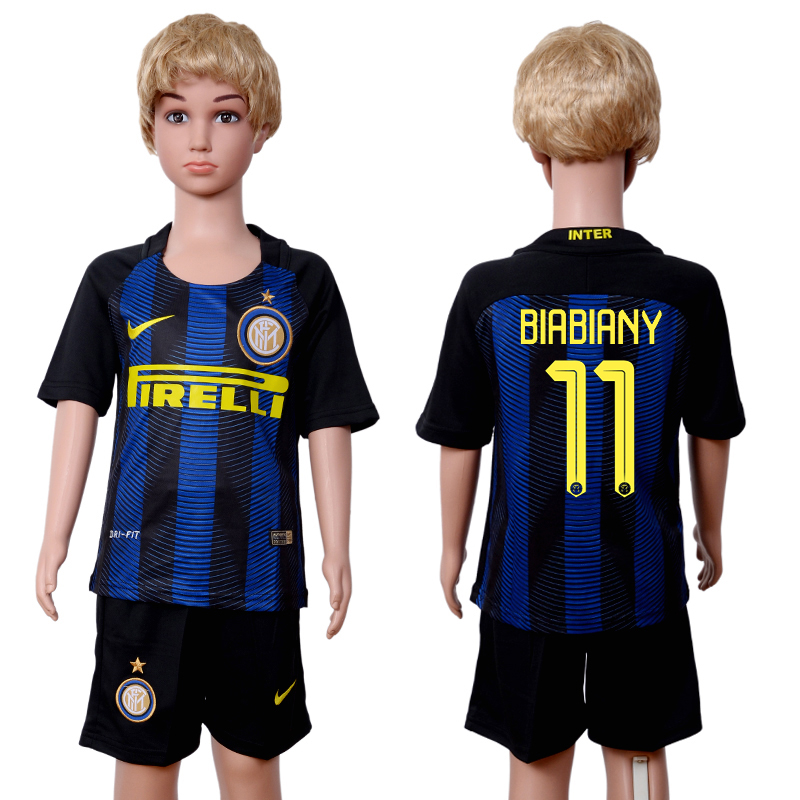 2016-2017 club Inter Milan home kids 11 Black Blue Soccer Jersey
