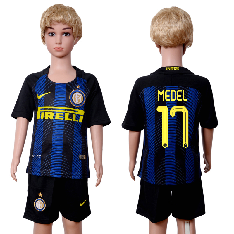 2016-2017 club Inter Milan home kids 17 Black Blue Soccer Jersey