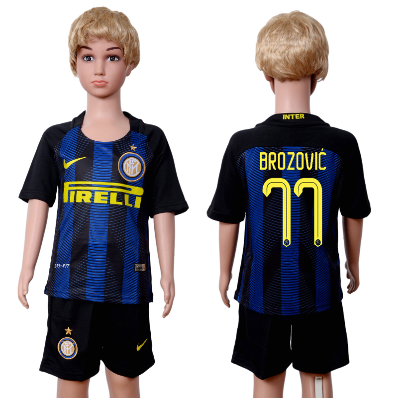 2016-2017 club Inter Milan home kids 77 Black Blue Soccer Jersey