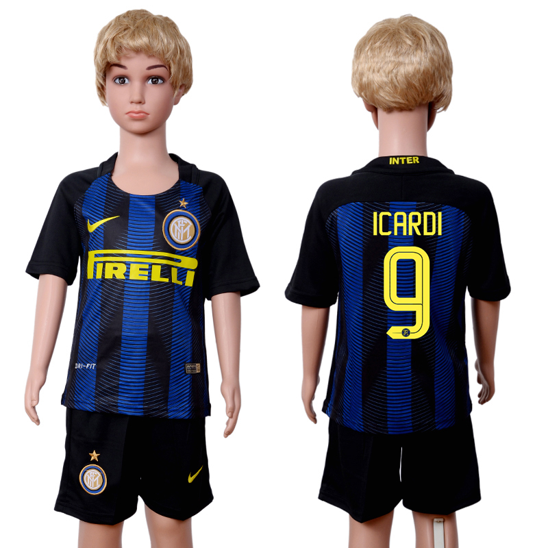 2016-2017 club Inter Milan home kids 9 Black Blue Soccer Jersey