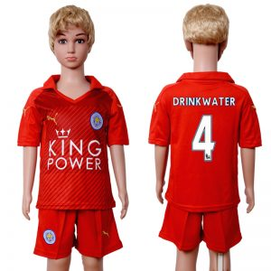 2016-2017 club Leicester City home kids 4 Red Soccer Jersey