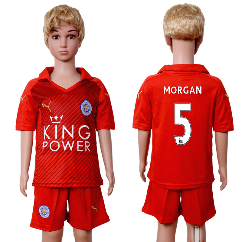2016-2017 club Leicester City home kids 5 Red Soccer Jersey