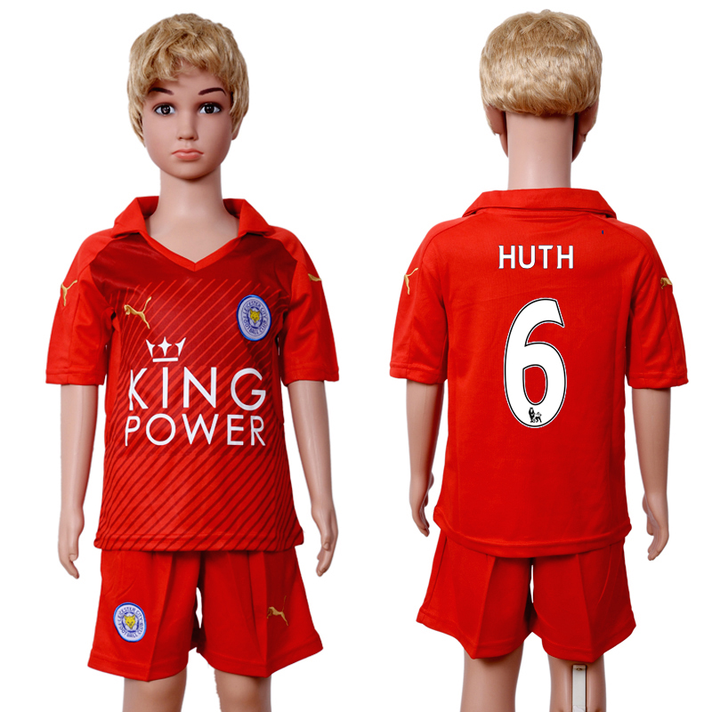 2016-2017 club Leicester City home kids 6 Red Soccer Jersey