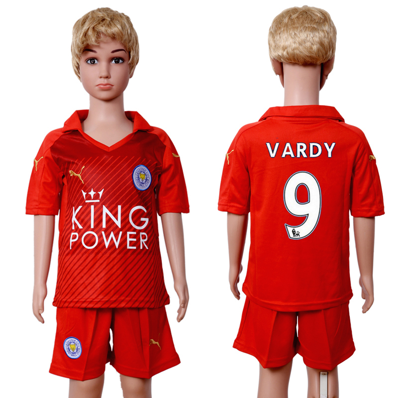 2016-2017 club Leicester City home kids 9 Red Soccer Jersey