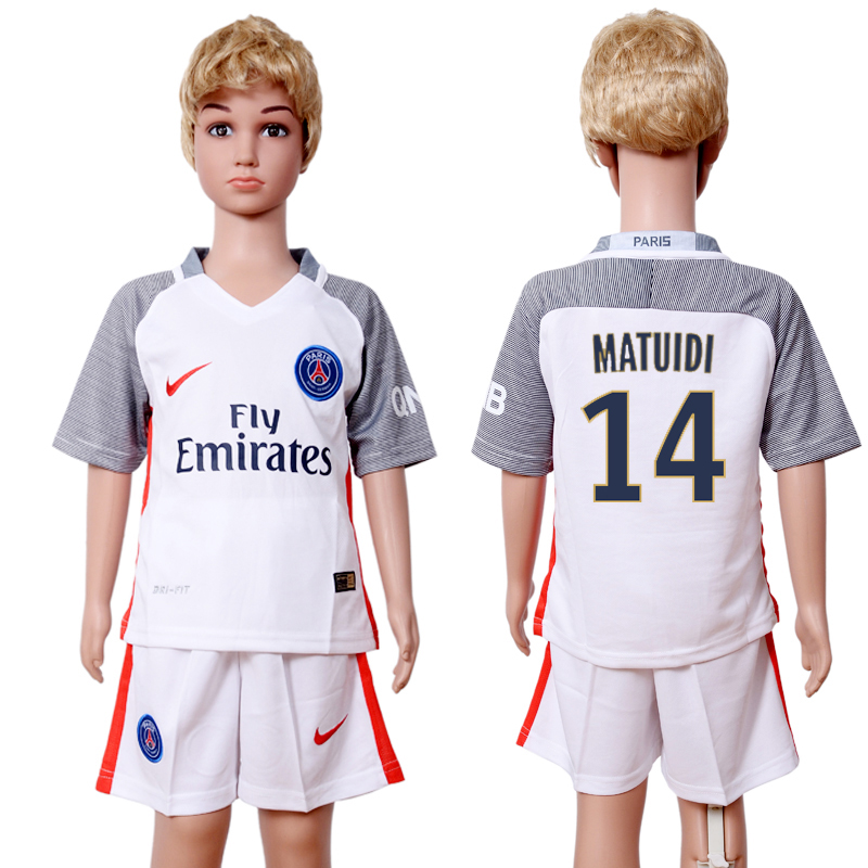 2016-2017 club Paris St Germain second away kids 14 White Soccer Jersey