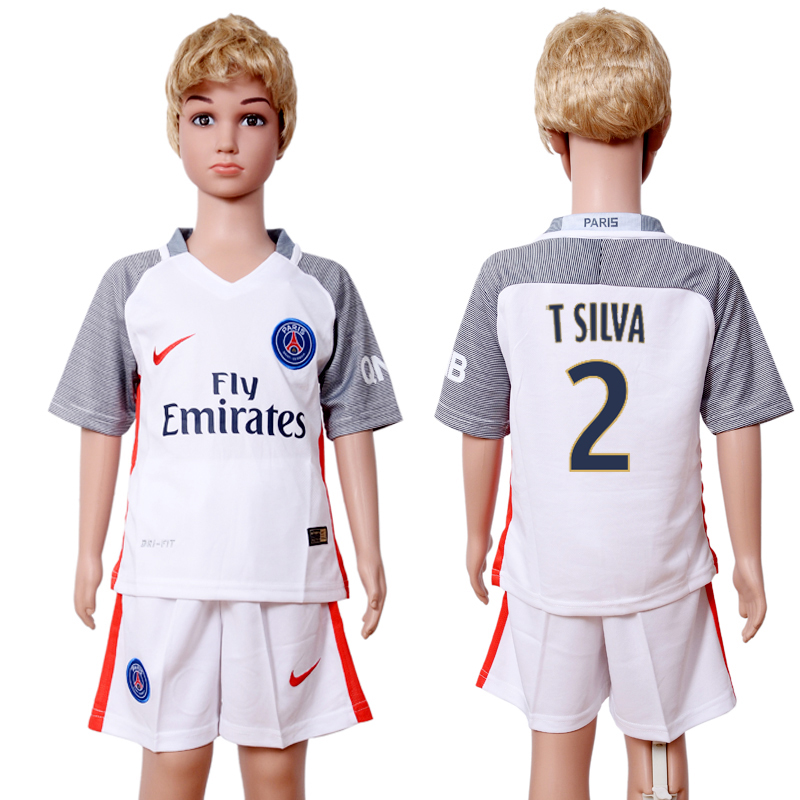2016-2017 club Paris St Germain second away kids 2 White Soccer Jersey