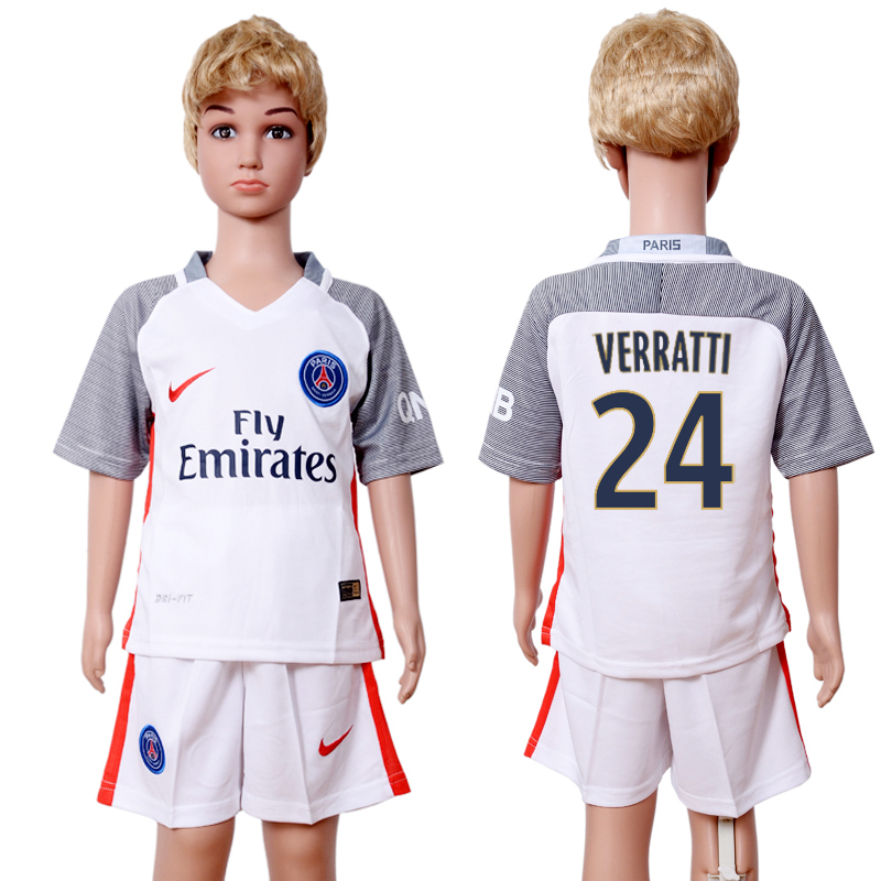 2016-2017 club Paris St Germain second away kids 24 White Soccer Jersey