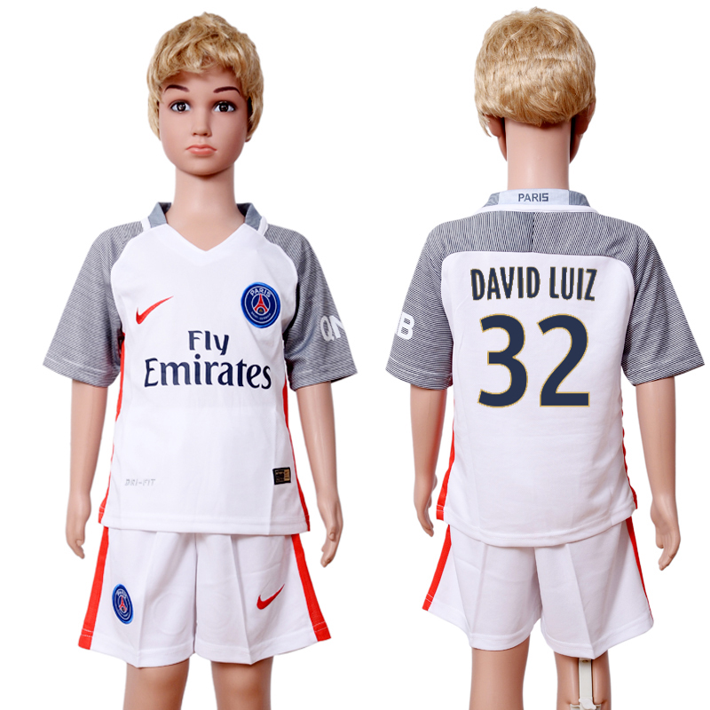 2016-2017 club Paris St Germain second away kids 32 White Soccer Jersey