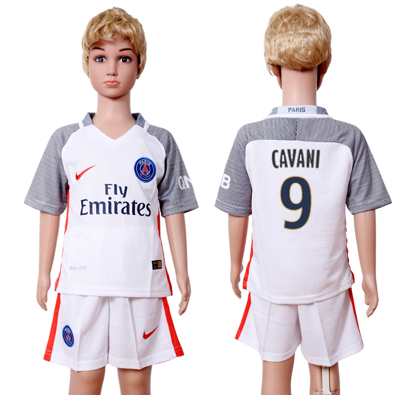 2016-2017 club Paris St Germain second away kids 9 White Soccer Jersey