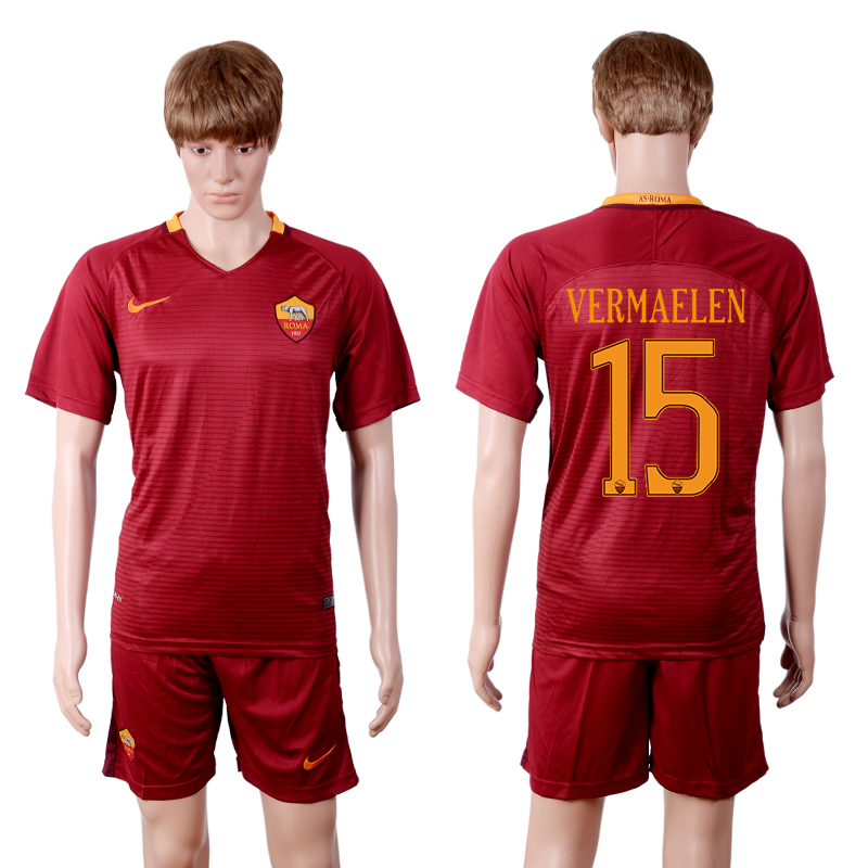 2016-2017 club Rome home 15 Red Soccer Jersey