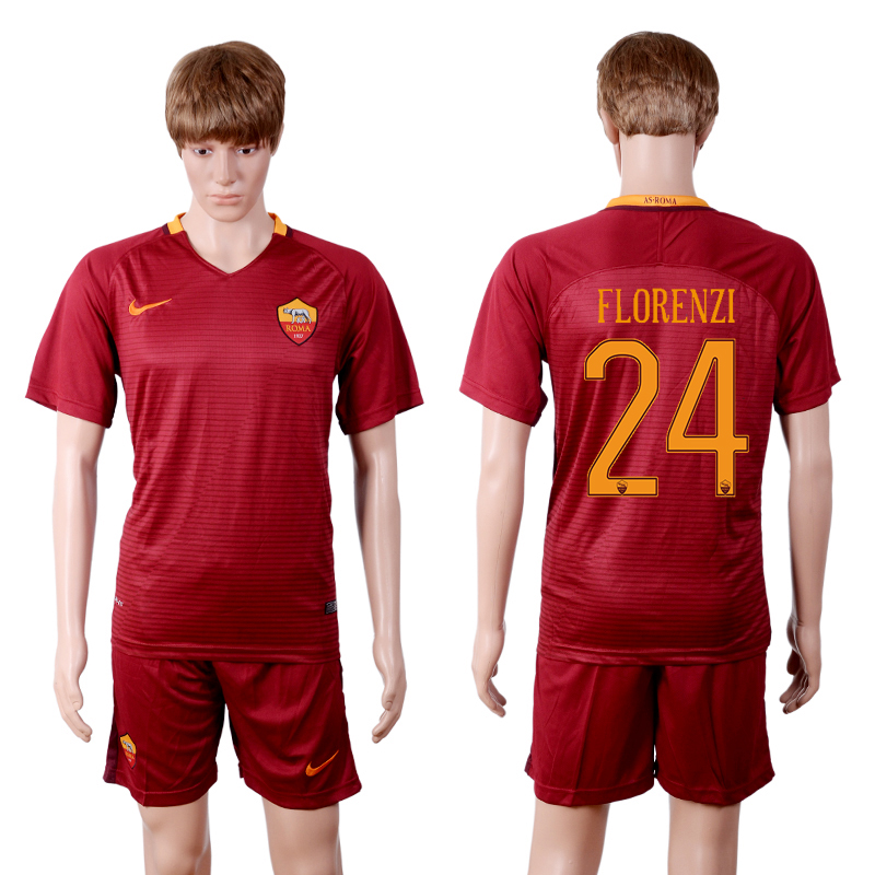 2016-2017 club Rome home 24 Red Soccer Jersey