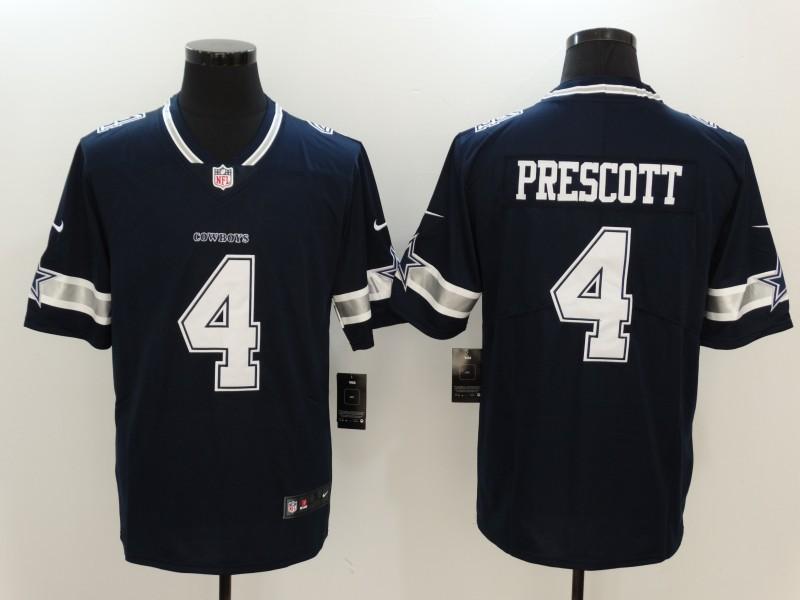 Men Dallas Cowboys 4 Prescott Blue Nike Vapor Untouchable Limited NFL Jerseys