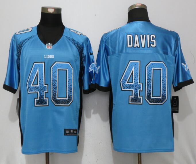 Men Detroit Lions 40 Davis Blue Drift Fashion Nike Elite NFL Jerseys