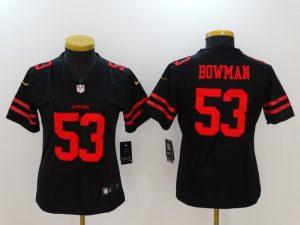 Womens San Francisco 49ers 53 Bowman Black Nike Vapor Untouchable Limited Jersey