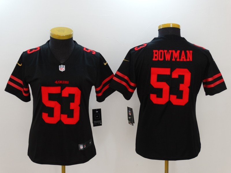 Womens San Francisco 49ers 53 Bowman Black Nike Vapor Untouchable Limited Jersey