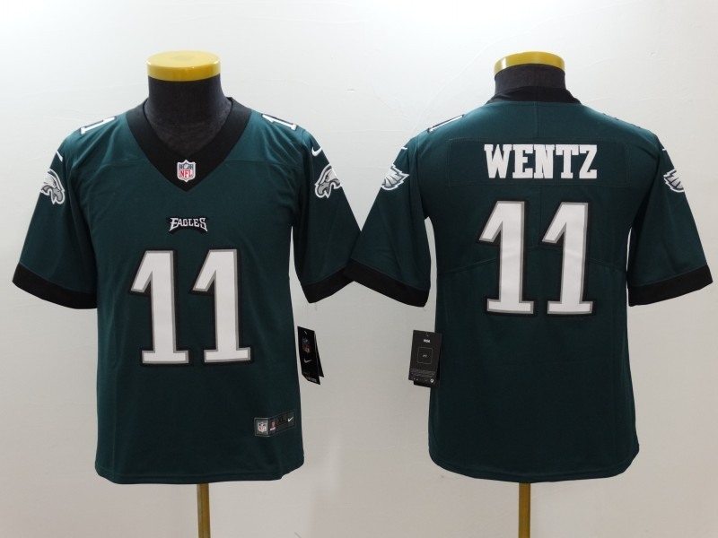 Youth Philadelphia Eagles 11 Wentz Green Nike Vapor Untouchable Limited Jersey