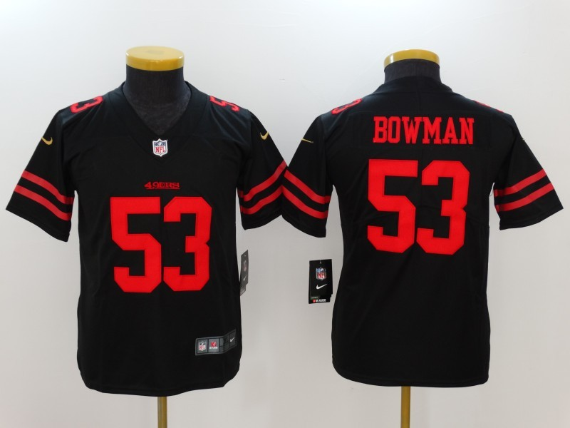 Youth San Francisco 49ers 53 Bowman Black Nike Vapor Untouchable Limited Jersey